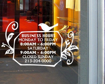 "7""H x 12""W A Cute Bird Custom Business Hours sign_vinyl sticker decal"