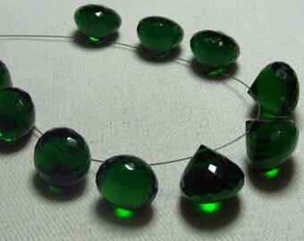 Brand New - 5 Matched Pairs - Chrome  Green Quartz - Faceted Onion Briolettes amazing Gorgeous sparkle Huge Size 13x13 mm