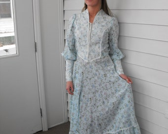 Blue Floral Prairie Dress Western Country Vintage 70s 1970s Long S