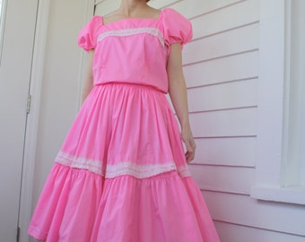 Vintage Pink Patio Dress Square Dance Dancing Country Western Full Skirt S M