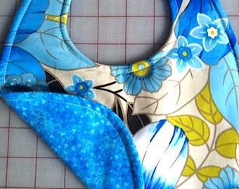 Blue Flowers on Blue, Waterproof ,Reversible Bib