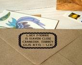 Scallop Frame Return Address Olive Wood Stamp