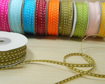 50 Yard Full Reel 3mm Double-Sided Sitched Organza Ribbon in Olive Green