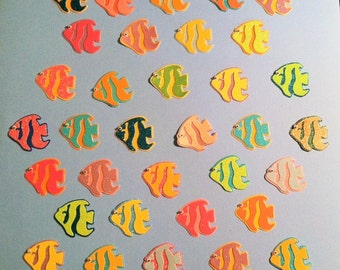 Glittered Angel Fish Die Cuts with Wiggly Eyes - Set of 6