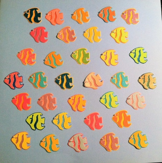 Glittered Angel Fish Die Cuts With Wiggly Eyes Set Of 6