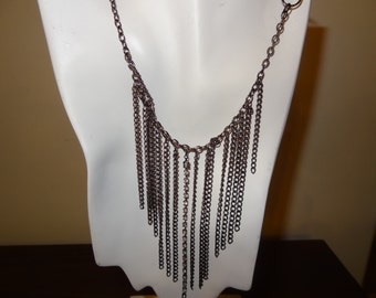 Statement Necklace, Metal Statement Necklace, Metal Chain Necklace, Gun Metal Necklace