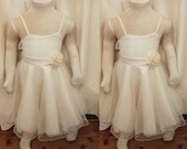 Vintage TWIN Wedding Flower Girl Christening Formal Girl's Fancy Off White Ivory Dress