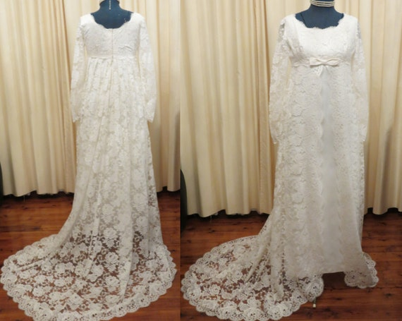 Vintage Wedding Dress Stores Sydney : Vintage s terry cooper sydney lace wedding dress with empire waist