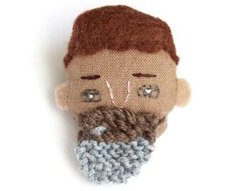 SALE - bearded bloke brooch - brown hair hand knitted brown and grey beard