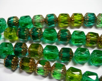 20  Green Mix Cathedral Czech Glass 10mm beads