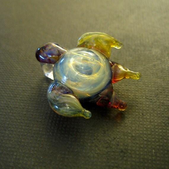 Boro Glass Sea Turtle Galaxy Pendant Lampworked Silver Fumed