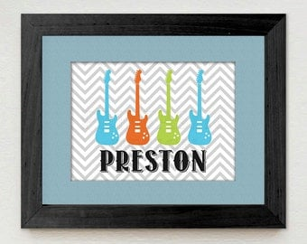 ROCK GUITAR Personalized Printable Art in Turquoise Aqua Blue, Lime Green, and Orange