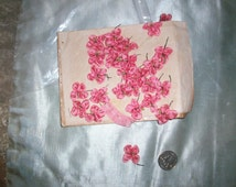 """1 french antique silk Ribbon work flower in rose shade color 1/2"""""""