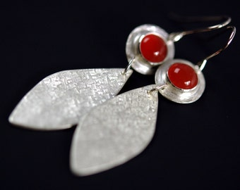 Carnelian Earrings with Brushed Sterling Silver - leaf earrings - made to order