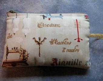 padded makeup jewelry bag in vintage sewing print