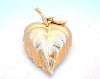 Avon solid perfume Vintage locket brooch pin leaf Fall gold tone