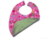 Free Shipping Hot Pink Flowers Green Flannel Baby Bib / Toddler Bib Made In Israel by CasaDeGato