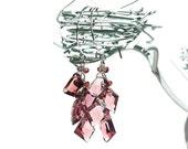 RESERVED - Plum Quartz Geometric Dangle Earrings / Sterling Silver / Purple / Wire Wrapped / Little Black Dress / Gifts For Her / OOAK