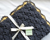 Crochet Baby blanket- Baby Girl Blanket- Charcoal Grey/Sunshine yellow Panel Shells Stroller/Travel/Car seat blanket- Baby girl shower gift