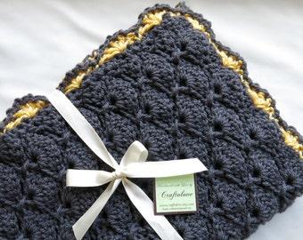 Crochet Baby blanket- Baby Girl Blanket- Charcoal Grey/Sunshine yellow Panel Shells Stroller/Travel/Car seat blanket- Baby girl shower gift