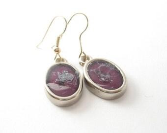 Purple earrings , speckled earrings , silver earrings jewelry , silver ear hooks , plum earrings , dangle earrings , handmade resin earrings