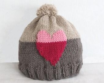 Hat KNITTING PATTERN - Sweet Heart Hat (child- adult sizes) knitting pattern