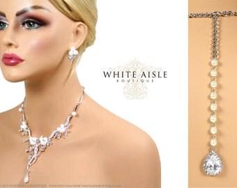 Pearl Wedding Jewelry Set, Backdrop Necklace, Bridal Statement Necklace, Drop Necklace, Pearl Statement Necklace, Wedding Jewelry