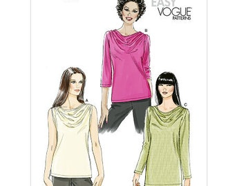 Sz 8/10/12/14 Vogue Top Pattern V8669 - Misses' Top in Three Variations - Very Easy Vogue