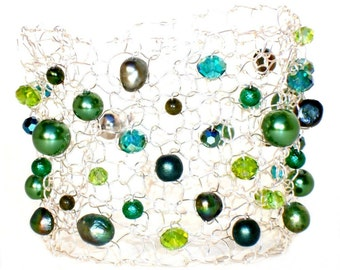 wide beaded bracelet arm cuffs pearl cuff bracelet greenery May birthday gift emerald green gift handmade jewelry  delicate bracelets