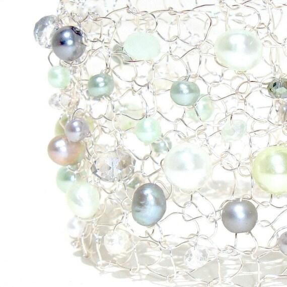 mint green wedding bracelet pearl bracelet wide cuff bracelet freshwater pearl bracelet mint green grey silver cuff bracelet bridesmaid