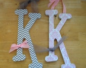 2 Wood Letters for Nursery, Baby Name Letter, Wooden Letter, Set of 2, 10 inch,  Wall Decor for Baby Boy, Baby Girl, Initials, Home, Wedding