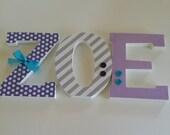 Wooden Letters, Baby Girl Nursery,  Custom Wood Letter,  ZOE's Theme, Purple and Grey, Teal Accents, Wall Hanging Decor