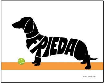 Personalized Dachshund Art Print, Shorthaired or Wirehaired Dachshund Gift, Unique Dachshund Memorial Gift