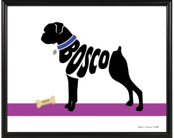 Personalized Boxer Print, Natural or Cropped Ears, Framed 8x10 Dog Wall Art, Dog Memorial Gift