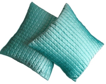 Elegance in Blue -  Satin Quilted Cushion Cover #5