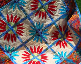 Handmade daisies table topper baby lap quilt