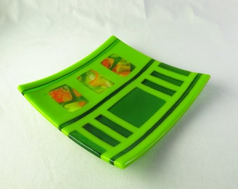 Fused Glass Plate in Green and Orange