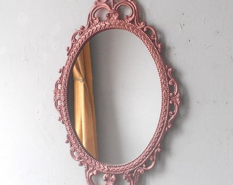 Rose Gold Wall Mirror in Hand Painted Vintage Metal Frame, 17 by 12 Inch Decorative Mirror, Home Decor
