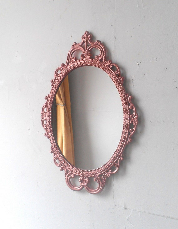 rose gold wall mirror in hand painted vintage metal frame 17 by 12 inch decorative