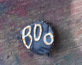Halloween Jewelry Recycled Bottle Cap Pin OOAK: Halloween Orange Spotted Boo - shipping included