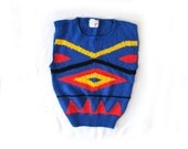 SALE vintage sweater knit top 80s primary colors blue red yellow abstract diamond novelty 1980s womens clothing size s m small medium