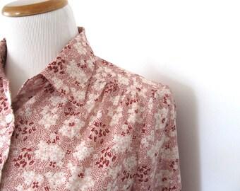 vintage blouse pink floral print shirt 1970s retro l xl extra large