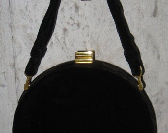 Fab Classy Vintage Classy Black Velvet Purse Hand Baq 1940s Sweet