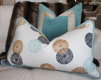 """SALE - Decorative Designer pillow cover - 14""""X26"""" - Lee Jofa Groundworks Kasa Linen in Bronze - Pattern on the front"""