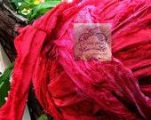 Sari Silk Raspberry Delight Recycled Silk Ribbon