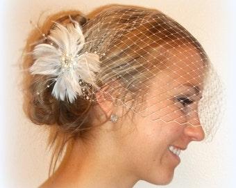 Wedding  Fascinator,French Net Veil, Wedding Hair Clip, Feather Fascinator, Bandeau Bridal Veil, Bride, Hair Accessories, 2 Pc Set, Wedding