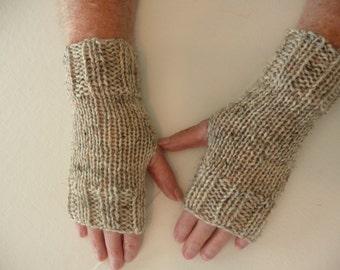 Hand Knit Fingerless Mittens/Texting Gloves-Birch Heather 100% Wool  Wrist Warmers