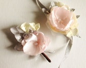 Pink grey ivory brown boutonniere for Wedding Groomsmen groom prom