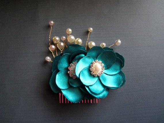Luxe Teal Bridal  Hair Comb Peacock Wedding Handmade