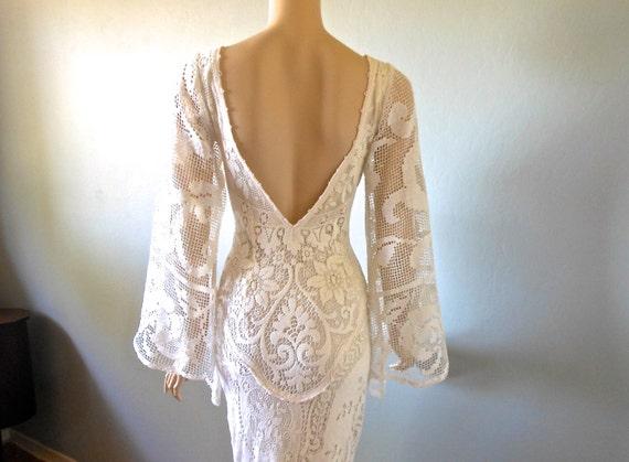 Cream Lace Backless Bohemian Wedding Dress Simple Wedding: Bohemian Vintage WEDDING Dress Backless Cream LACE Angel